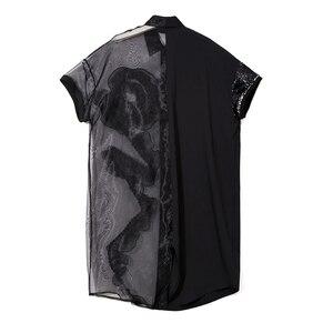 Image 4 - 2020 קיץ נשים שחור Midi רשת & שיפון חולצה שמלה בתוספת גודל לפרוע רקמת נצנצים גבירותיי Sheer המפלגה שמלת Robe 3392