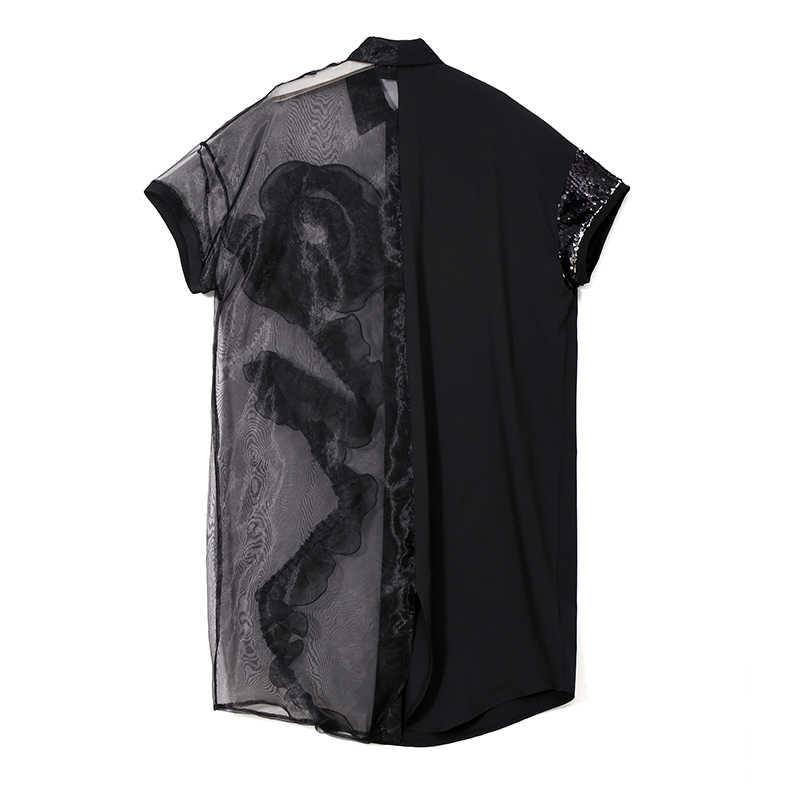 2020 sommer Frauen Schwarz Midi Mesh & Chiffon Hemd Kleid Plus Größe Rüschen Stickerei Pailletten Damen Sheer Party Kleid Robe 3392