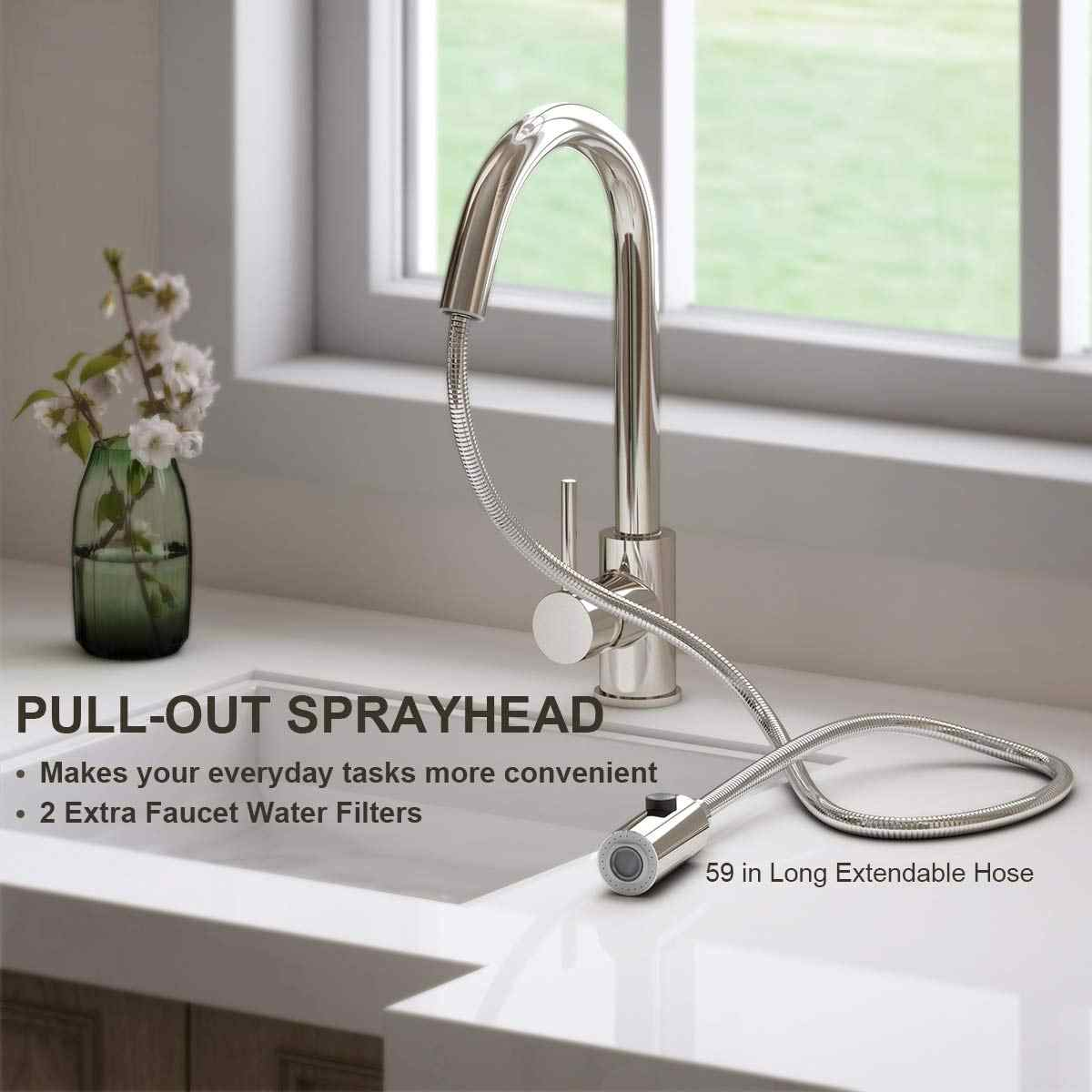 Single Handle Kitchen Mixer Sink Tap With Pull Out Spray Kitchen Faucet Sprayer Hot And Cold Water Spout Lead Free Sink Faucet Kitchen Faucets Aliexpress