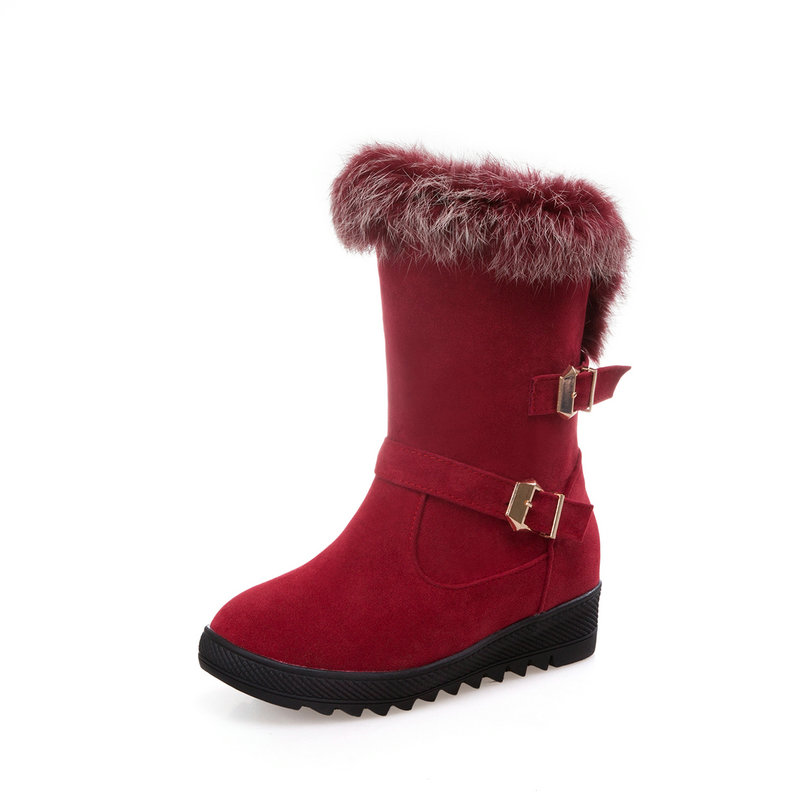 2f6580eb49199 Ladies snow boots plush winter warm girl's med wedges heels shoes fashion  black red brown women ankle boots large size 43