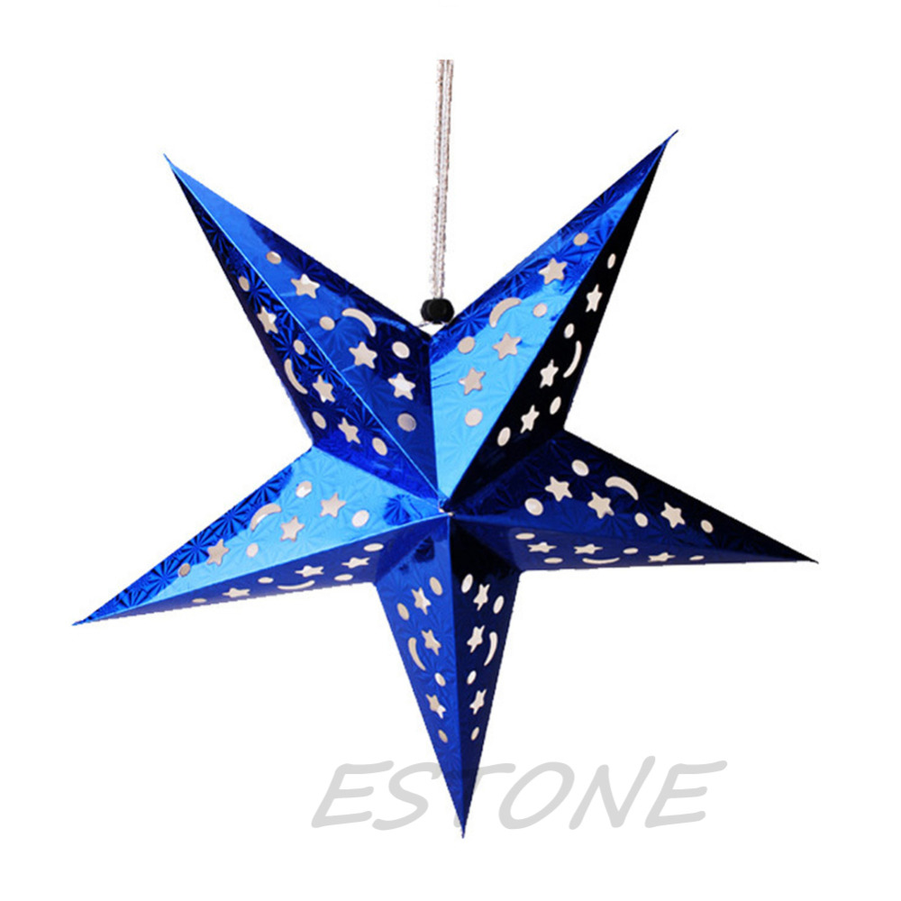 Christmas Reusable 30/45/60cm Pentagram Hanging Lamp Shade Tree Yard Decor