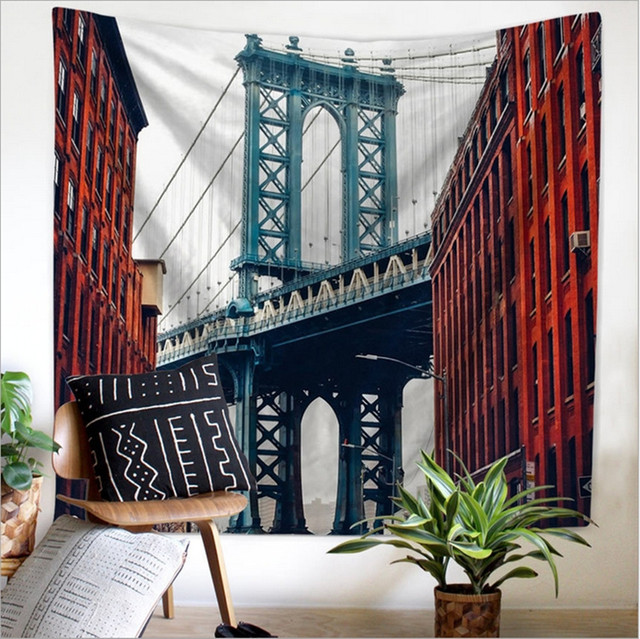 Home Decor Polyester Fabric Nordic Building Tapestry Wall Hanging Throw Bohemian Door Curtain home decoration accessories & Home Decor Polyester Fabric Nordic Building Tapestry Wall Hanging ...