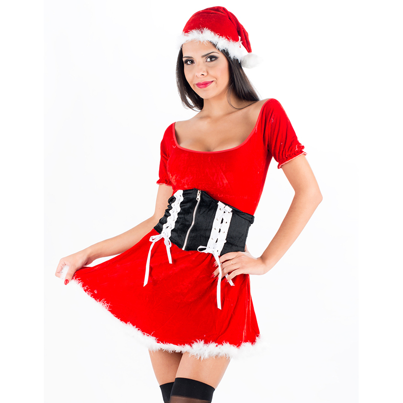 Women Sexy Christmas Festival Cosplay Costumes Female Red Halloween Uniform Role Play Adult Santa Costumes W4009