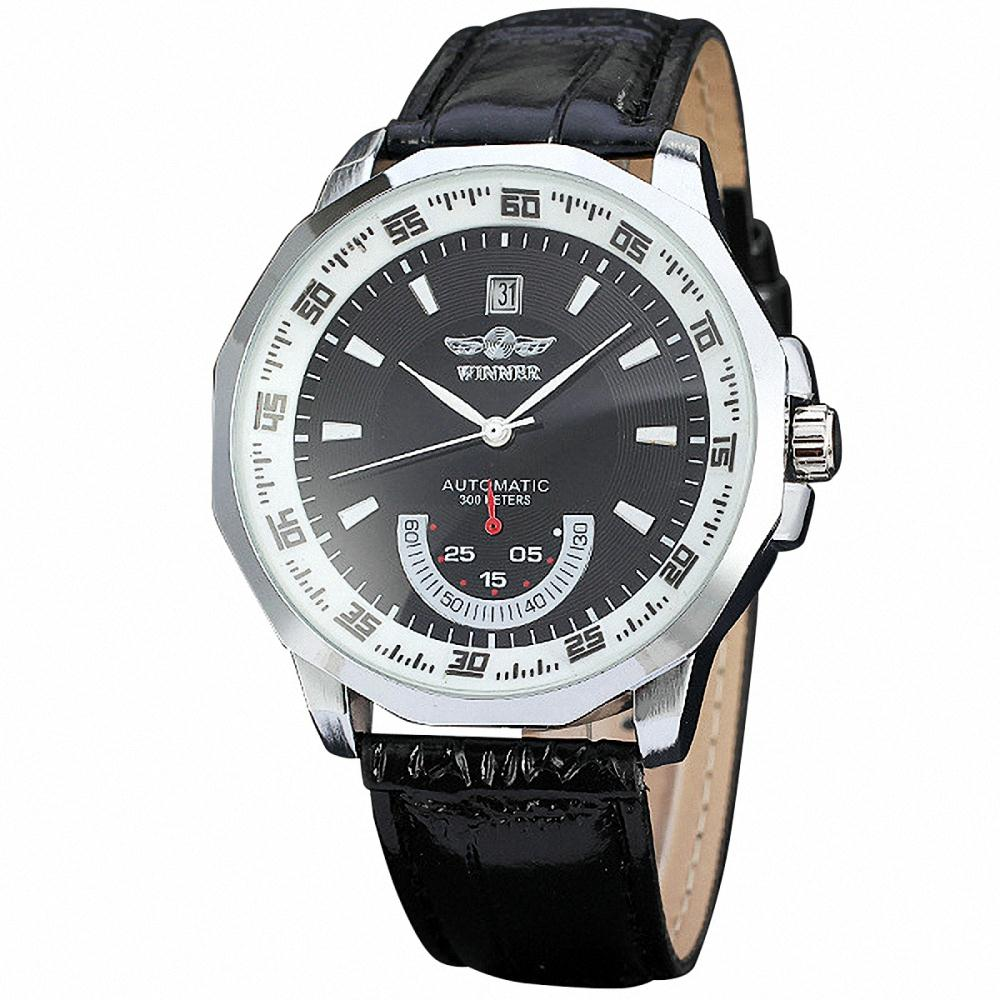 WINNER HOT SALE Men Casual Automatic Mechanical Wrist Watch Leather Band Auto Date Working Sub Dial