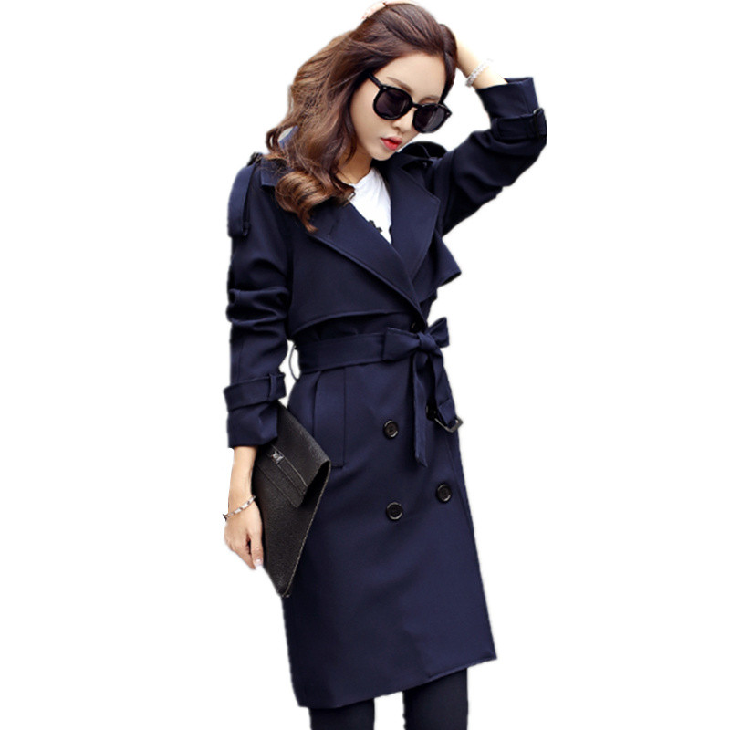 2019 Casual Women Coats Spring Autumn Fashion Turn Down Collar Double Breasted Overcoat Plus Size Loose Long Trench Coats C170