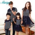 family matching clothes summer Korean striped full decoration 2016 new mother son outfits	 and her daughter dress lovers