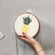 Pineapple Round Circular Summer Beach Straw Bag Shoulder Crossbody Bags for Women Rattan 2019 Handbag Female