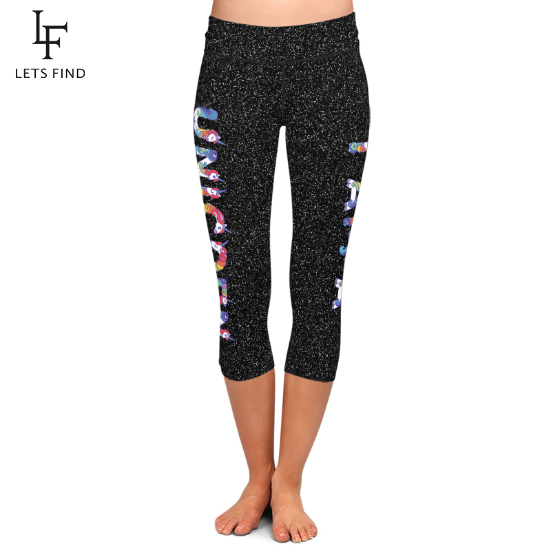 Summer New High Elastic Women Capri   Leggings   Fashion High Waist Unicorn Print Plus Size Mid-Calf 3/4 Stretch Black   Legging