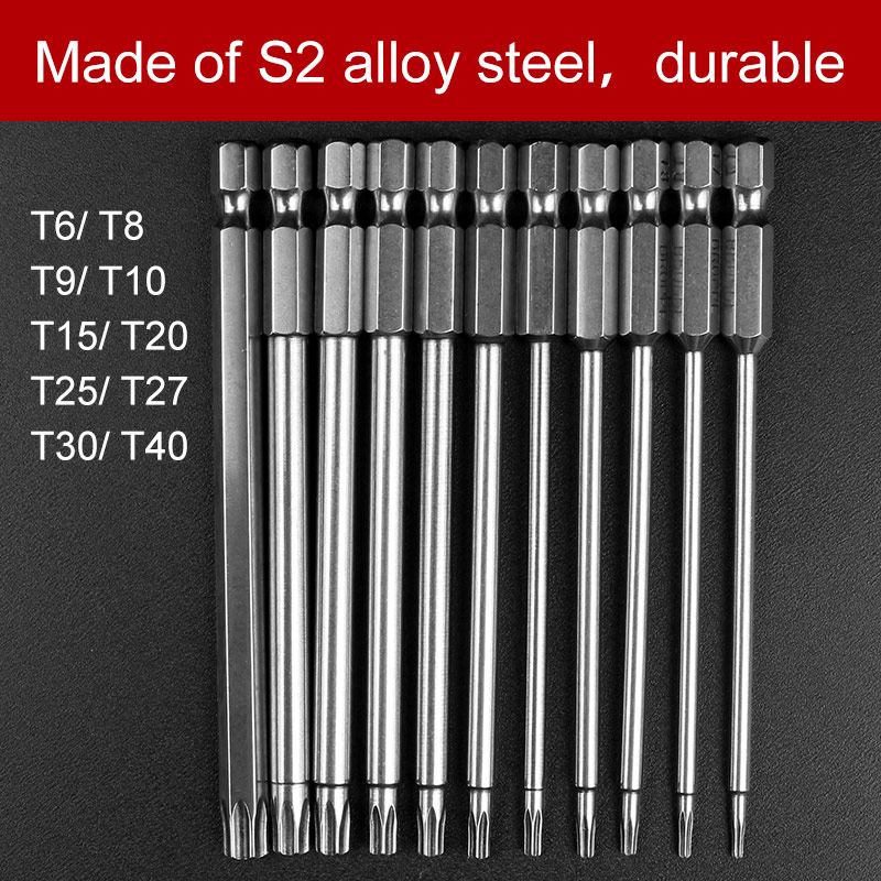 11pcs Hex Torx Head Drill Screwdriver Set Bits 100mm S2 Steel Screw Driver Screwdrivers Kit Magnetic Hand Tools