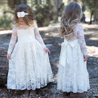 Ins Hot Style Girl Lace Long Dress With Sweet Big Bow Long Sleeved Flower Baby Kids Princess Wedding Prom Party White/ Beige