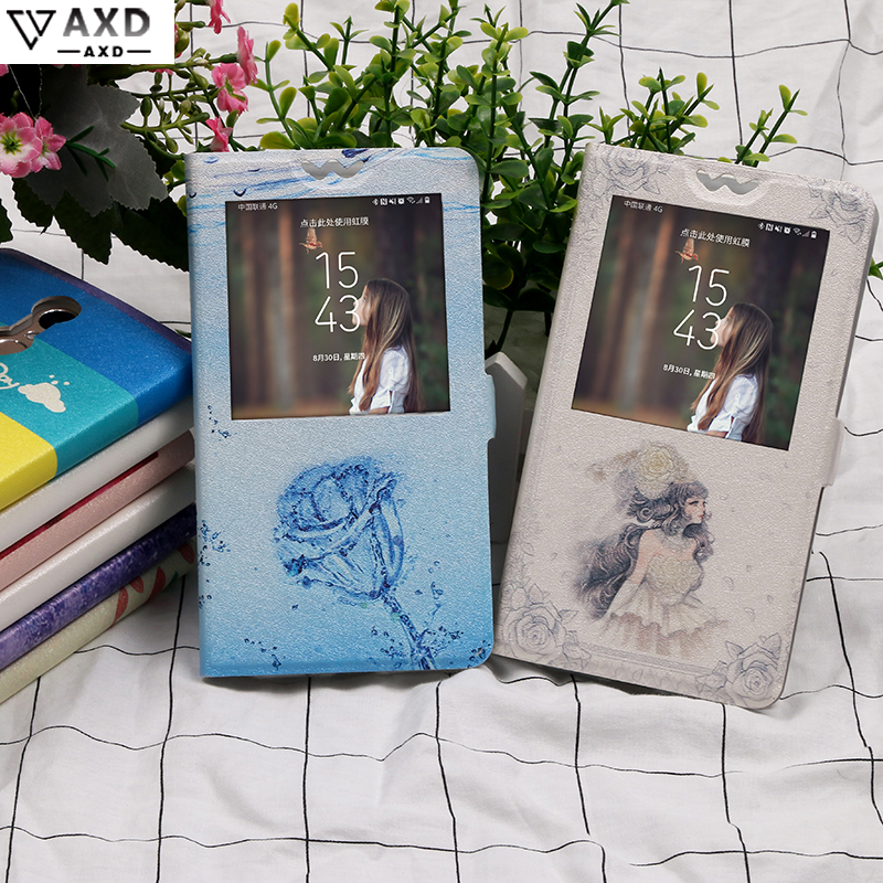 Flip view Window <font><b>case</b></font> for <font><b>HOMTOM</b></font> HT 7 16 17 26 27 50 Painting fundas Cartoon protective kickstand <font><b>cover</b></font> for HT7 HT16 <font><b>HT17</b></font> HT26 image
