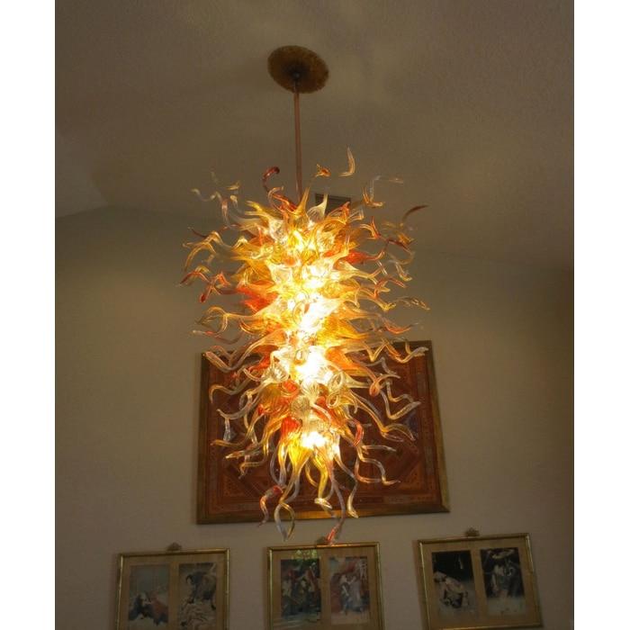 Большой Кристалл Италия Мурано Стиль подвесные светильники красный прозрачный Amber Цвет подвесной светильник для Кухня освещение современн...
