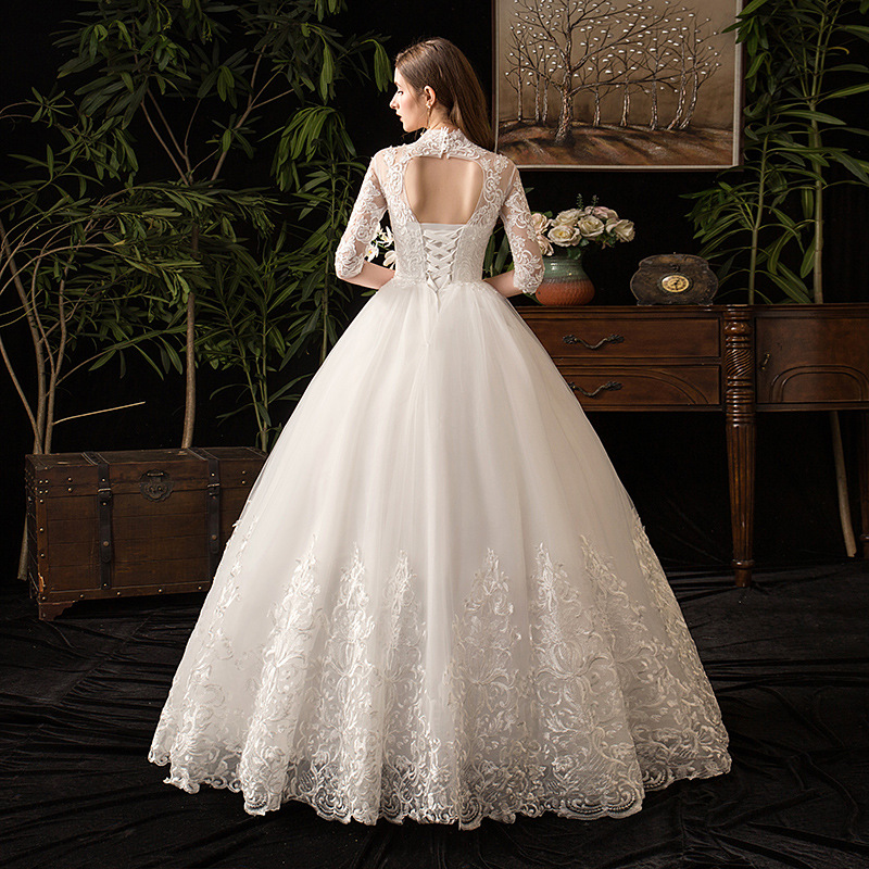 Image 4 - Chinese Style High Neck Half Sleeve 2019 New Wedding Dress  Illusion Lace Applique Simple Custom Made Bridal Gown Robe De  MarieeWedding Dresses