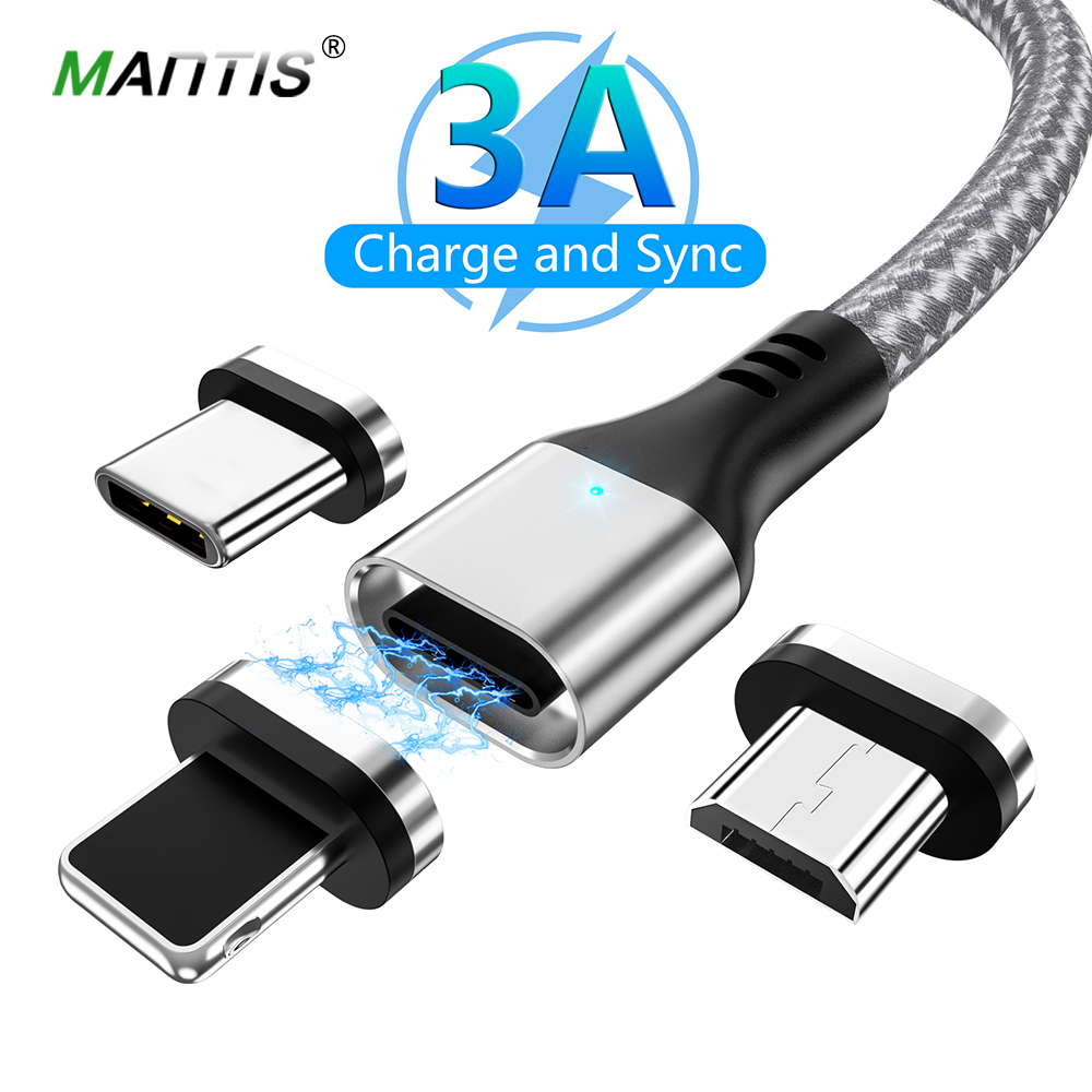 MANTIS 3A Magnetic Cable Micro USB Type C Cable For iPhone Samsung Xiaomi 3 in 1 Fast