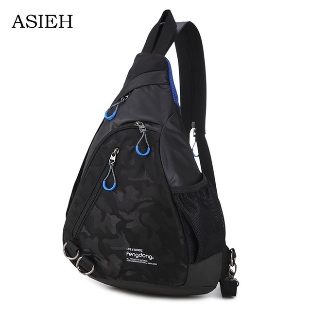 boy chest bag casual waterproof one shoulder messenger bags female small  crossbody travel bag College Students black Chest bag 3a37365500b6d