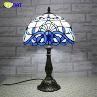 FUMAT Glass Art Lamp European Style Stained Glass Table Lamp Vintage Creative Lights Living Room Bar Decor Stand Lamps