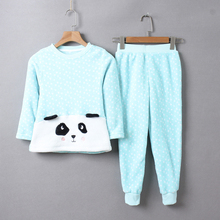 2017 Autumn Children Clothing Set Flannel Cartoon Long Sleeved T-shirt+Pants Kids Suits Casual Home Warm Thick Kids Pajamas