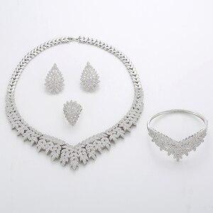 Image 3 - Hadiyana Trendy Noble Micro Pave Cubic Zirconia Dubai Jewelry Sets Latest Luxury Bridal Wedding Jewelry Set For Women TZ8025