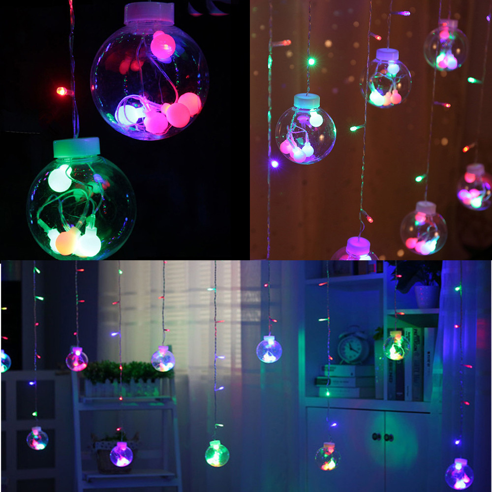 100% Quality 12 Balls Holiday Lamp String 3m Garland Ball Led String Light Christmas Wedding Party Decoration Curtain Lights Colorful #415