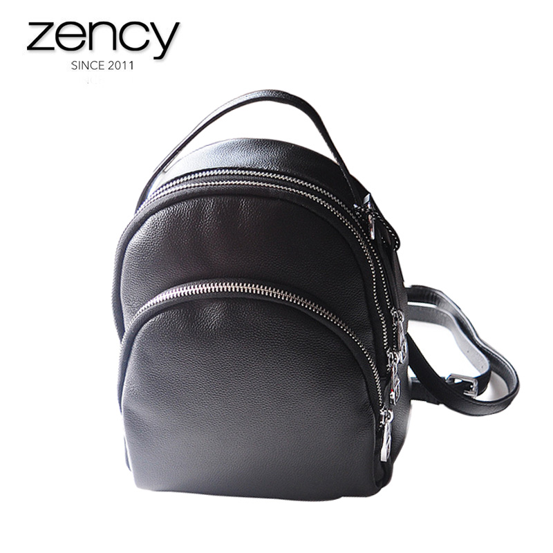 Soft Natural Cow leather Women s Small backpack Black Mini Shoulder bags for Female 3 zippers