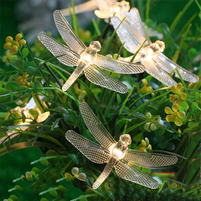 Thrisdar 4 8m 20 Led Outdoor Solar Dragonfly Fairy Garden String Lights Christmas Panel Patio