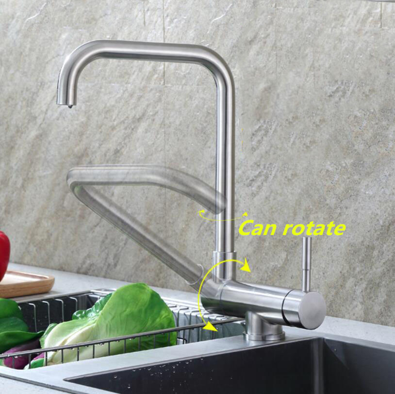 304 Stainless Steel Kitchen Rotating Faucet Folding Down Hot And Cold Water Faucet Sink Low Window