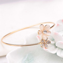 Best Price Lady Crystal Double Five Leaf Open Bangles Bracelet