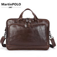 Genuine Leather Briefcase Laptop men's bags Messenger Shoulder Bags Men's Leather bag Briefcases Laptop Crossbody Bags MLT8979