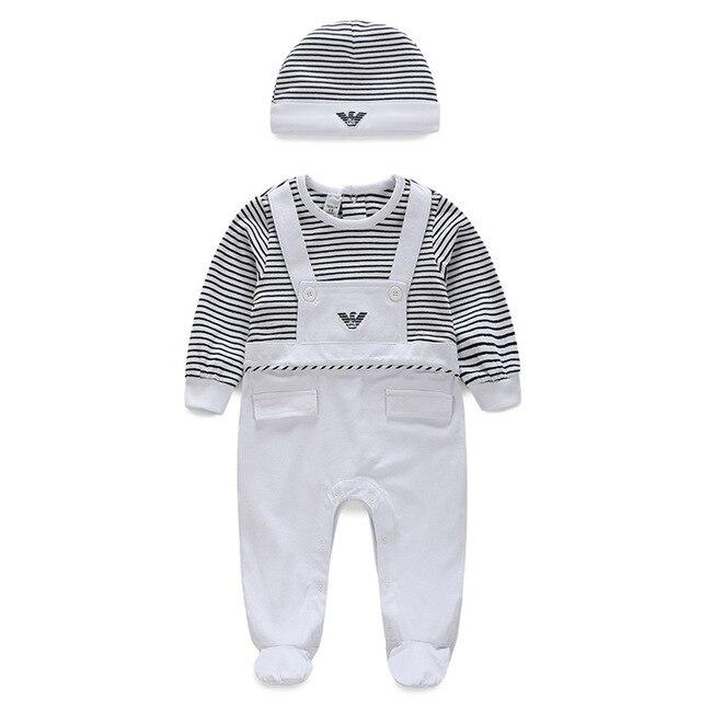 Новое прибытие 2016 зима Осень детская одежда Высокое качество печати хлопка с длинными рукавами Полосатый baby boy Детский Комбинезон И шляпа набор