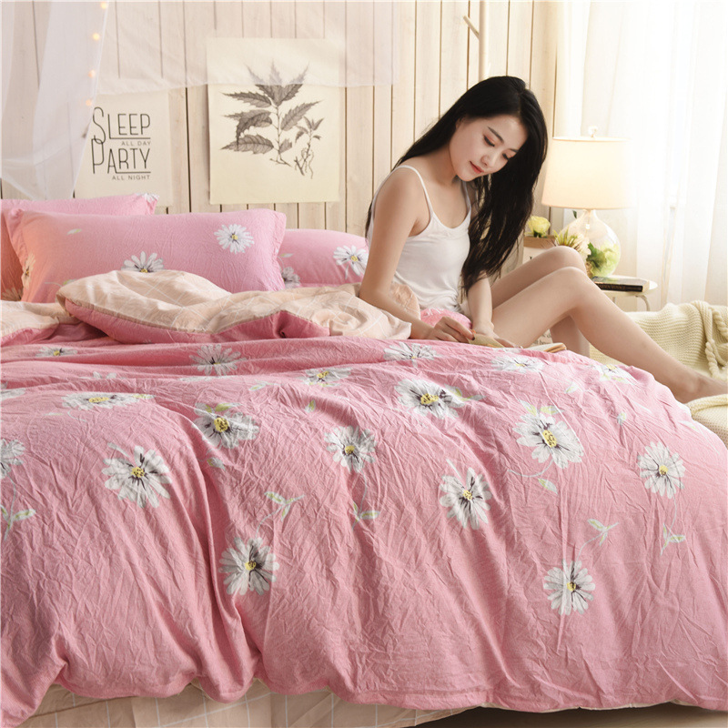 2018 washed cotton bedding set fashion stripe duvet cover cotton bed sheets 4pcs housse de couette home textiles drap de lit