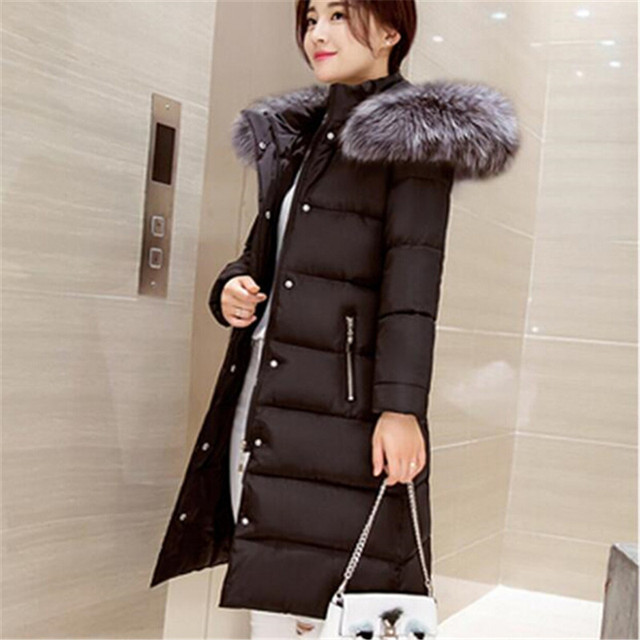 2016 New Camperas Mujer Invierno Outerwear Winter fur collar Parkas Women Hoods Cotton-padded Coat Medium Casual Jacket