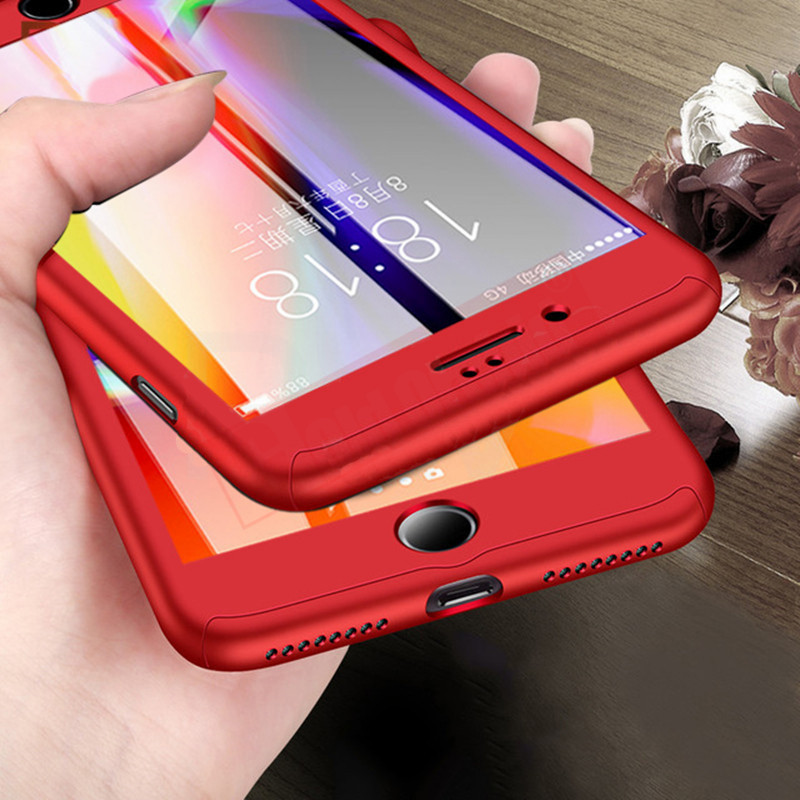 360 Degree Protection Case For iPhone 7 7 Plus Cover For iphone 5 5S SE 6 6s Cases Full Cover Slim + Screen Protector Glass