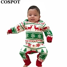 2016 New Baby Girls Boys Christmas Romper Newborn Autumn Winter Jumpsuits Kids Cotton Fashion Xmas Clothing Free Shipping C40 new born baby winter cotton jumpsuits warm hoodied romper kids boys girls suits mama toddler clothing