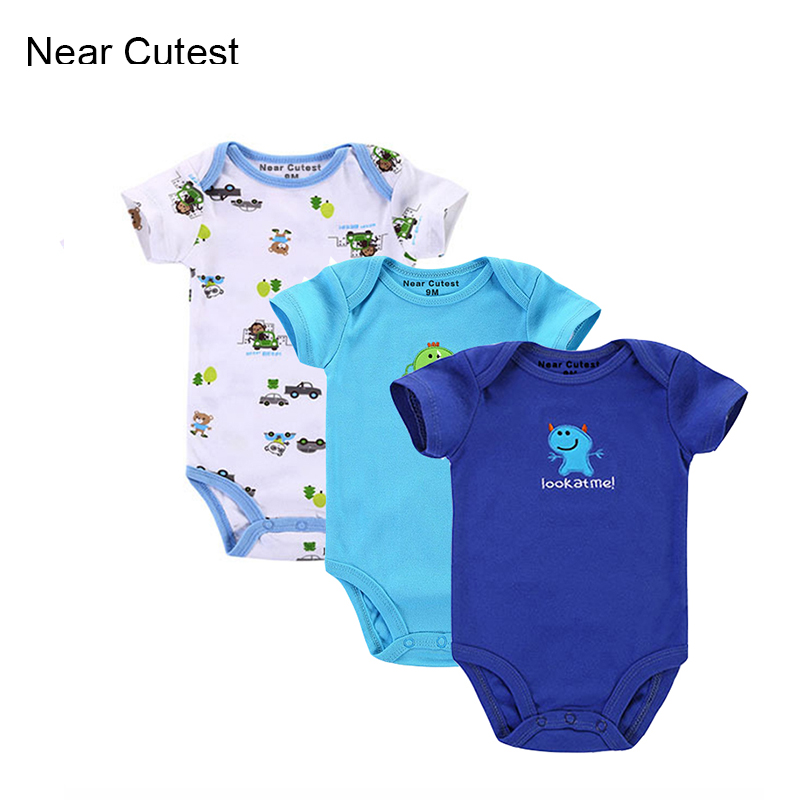 Near Cutest 3pcs/lot Baby Romper Short Sleeve Cotton Similar Baby Boy Girl Clothes Baby Wear Jumpsuits Clothing Set Body Suits