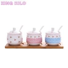 XING KILO Creative ceramic seasoning jar Korean set kitchen salt box home three-piece