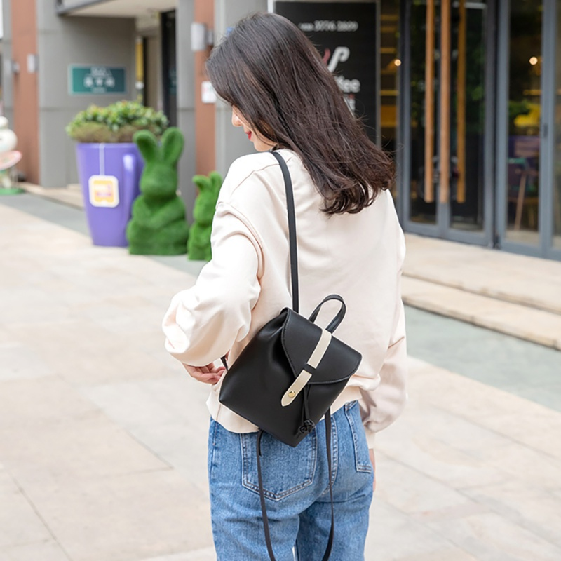 HOT 2019 New Style Color Matching PU Leather Woman 39 s Backpack Casual Multi function Cover Type Drawstring Crossbody Shoulder Bag in Backpacks from Luggage amp Bags