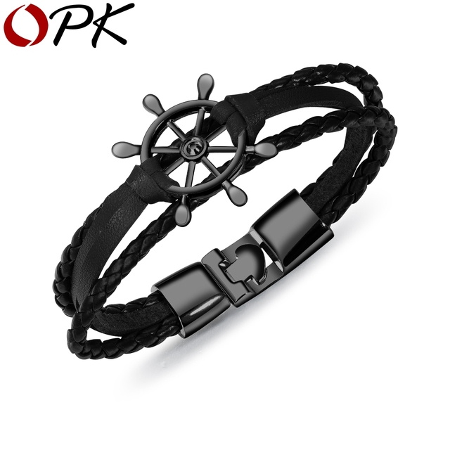 Fashion Sailor Bracelet For Man Multilayer Leather Jewelry Rudder Bracelets Bangles Stainless Steel Handmade Chain PH1257