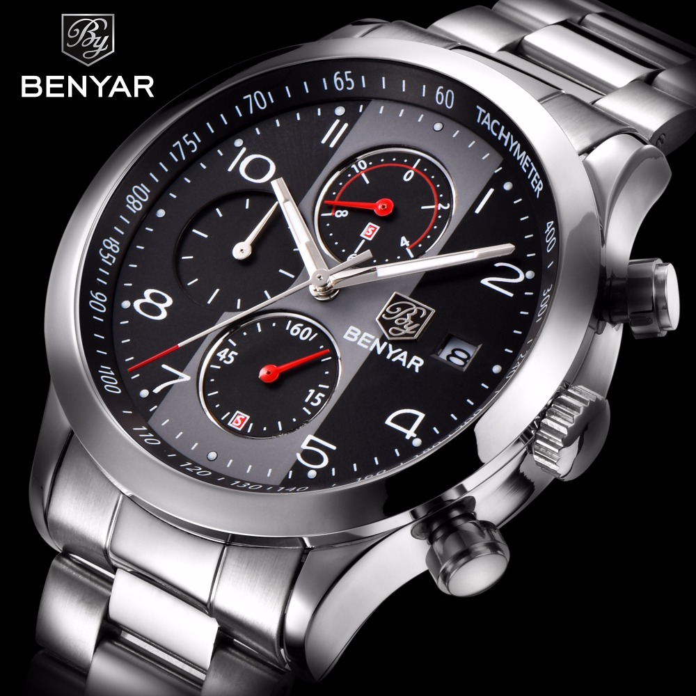 BENYAR Full Steel Mens Watches Top Brand Luxury Business Quartz Watch Men Tachymeter 30M Waterproof Male Clock Relogio Masculino chenxi steel strap tachymeter quartz watch