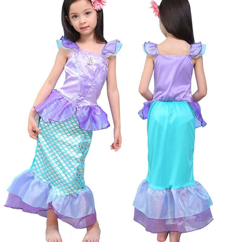 The Little Mermaid Dress for Kids Fancy Princess Ariel Cosplay Halloween Costume Little Mermaid Dresses Girl Christmas Gift