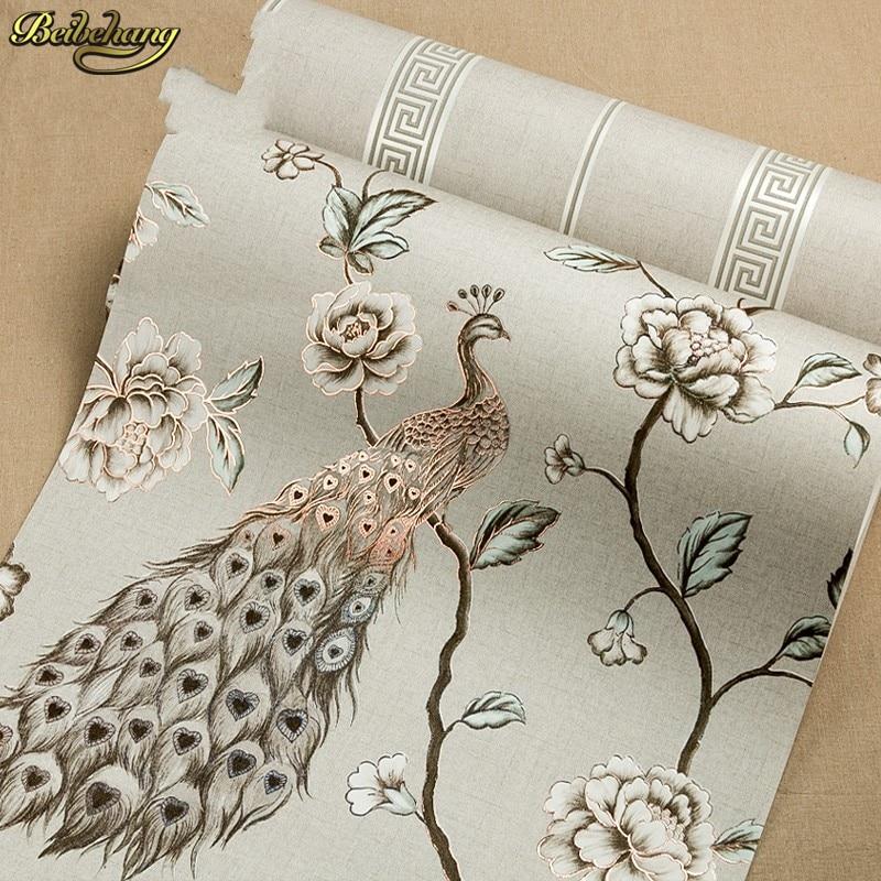 Beibehang papel parede papier peint mural de luxe paon broderie papier peint rouleau Floral oiseaux 3D papel de Parede Eco papier peint rouleau - 3
