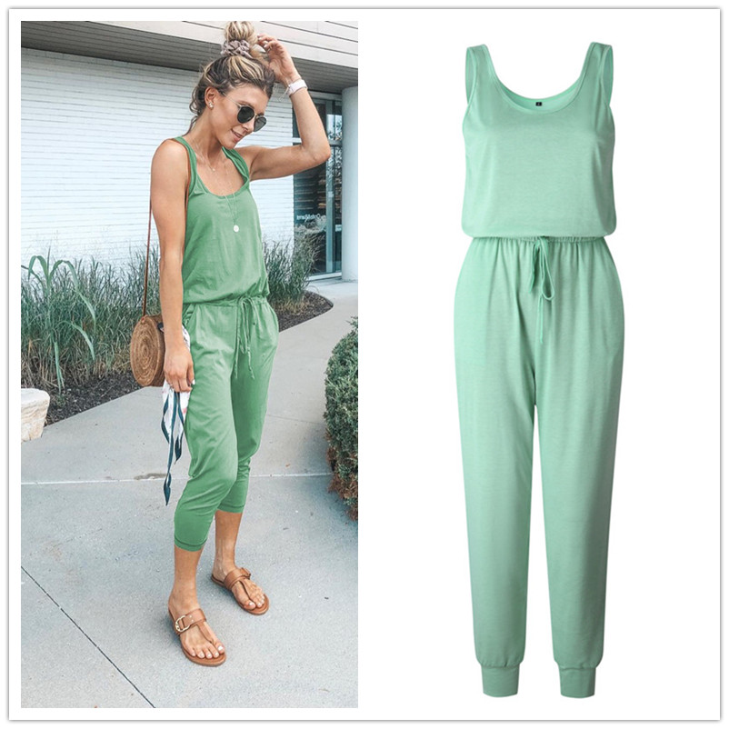 New Arrival Sexy Off Shoulder Sleeveless Belts   Jumpsuits   Summer Women Solid Casual Pockets Long Rompers Slim Koren Style Beach