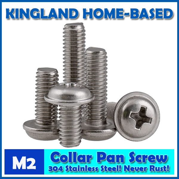 M2 DIN967 Phillips Pan Round Head Screws With Collar Machine Screw 304 Stainless Steel DIY Repair Accessories For Home