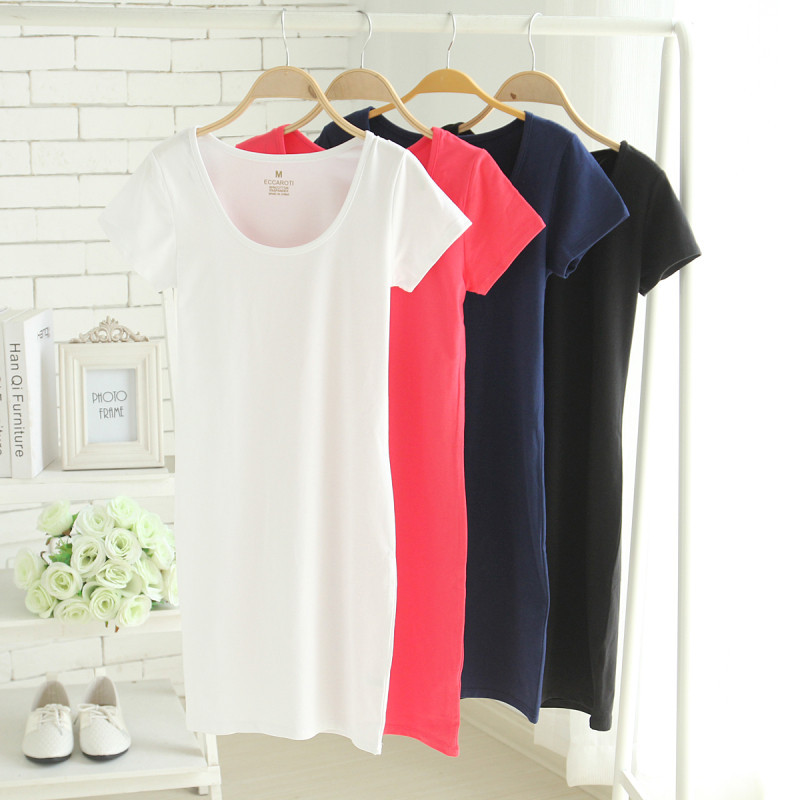 5254f6af9d2b Women Summer Solid Brief Cotton T shirt Dress
