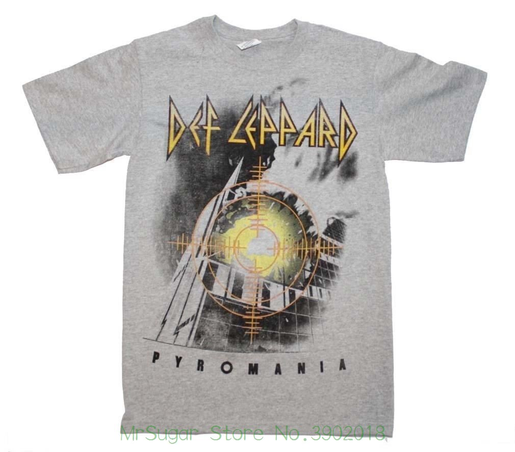 Def Leppard Target Pyromania Heather Gray T-shirt 100% Cotton T Shirts Brand Clothing Tops Tees