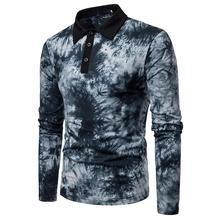 Men Polo Shirt Dyeing design Lapel Long sleeves Polo Shirt Men Clothes Tops Tees Casual T Shirt New Black Red Blue цена