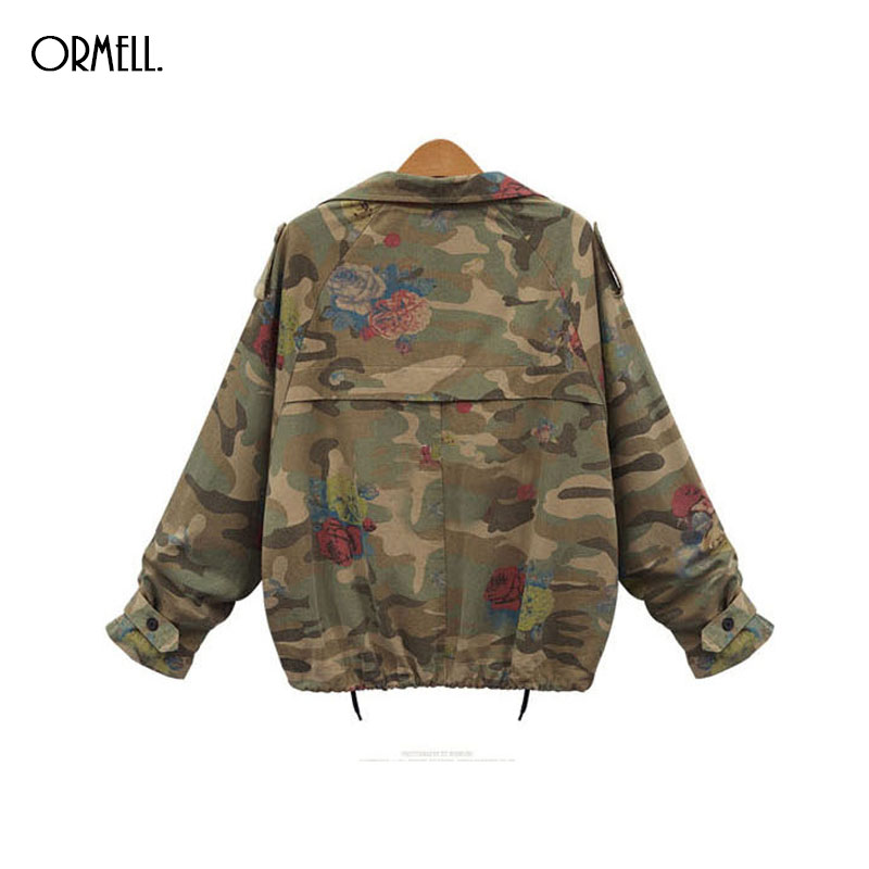 US $30.59 15% OFF|ORMELL Frauen Vintage Camouflage Jacke Mantel Lose Kurzen Umlegekragen Jacken Casual Damen Streetwear Outwear Tops in Basic Jacken