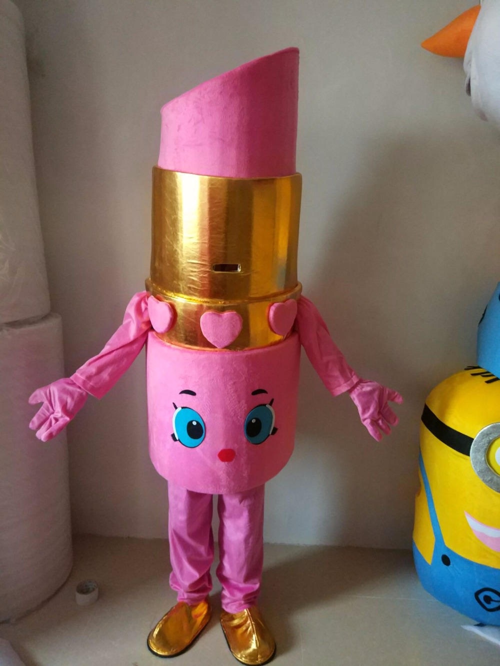 lippy lips Mascot Costume pink lipstick mascot costume from Shopkins for makeup party with for adult Halloween Purim party event