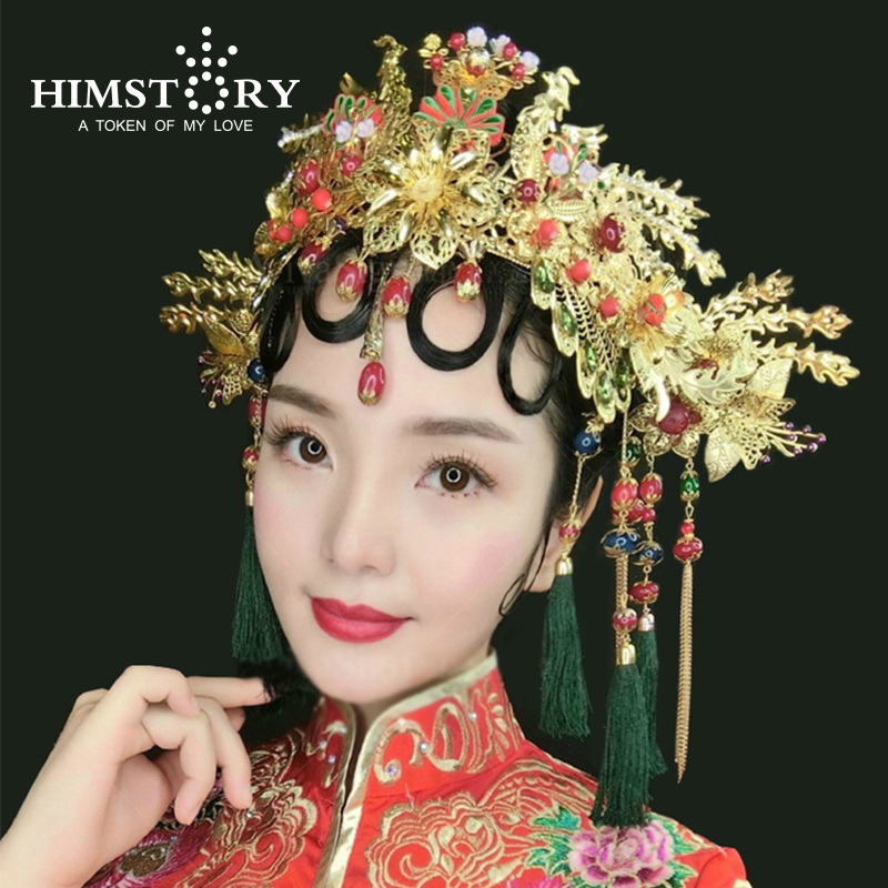 Chinese Traditional Bridal Headdress Long Red/GreenTassels Beads Flowers Hair Jewelry
