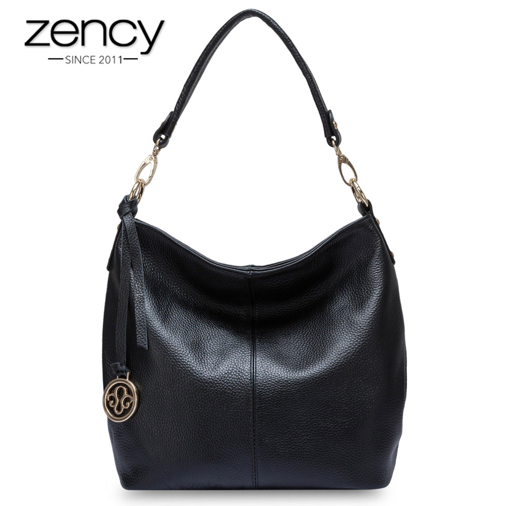 Zency 5 Colors New Arrivals 100% Genuine Leather Fashion Women Shoulder Bag High Quality Female Messenger Crossbody Purse Grey