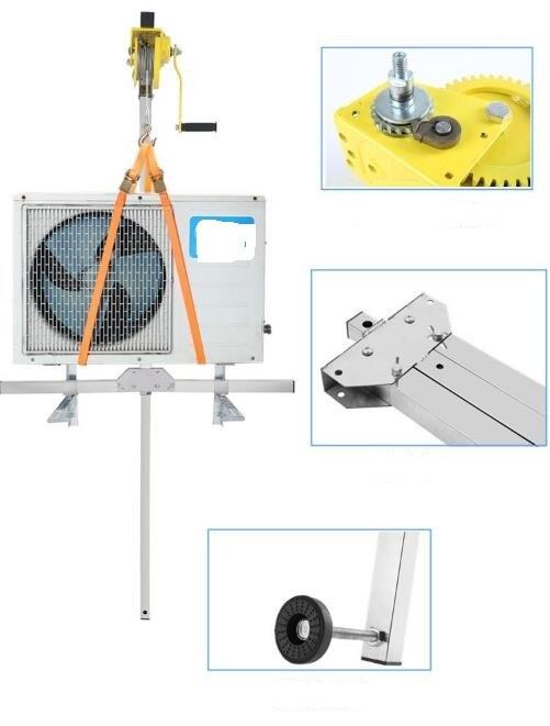 Acier inoxydable manuel, outil de levage d'installation extérieure, grue, pliage, climatiseur d'assemblage de treuil manuel auto-bloquant